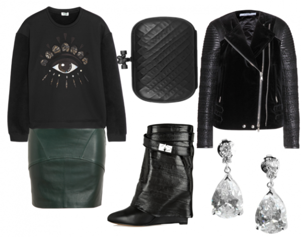 Sweatshirt, Kenzo. Deri etek, T by Alexander Wang. Portföy çanta, Bottega Veneta. Biker ceket, Givenchy. Küpe, CZ by Kenneth Jay Lane. Bot, Givenchy.