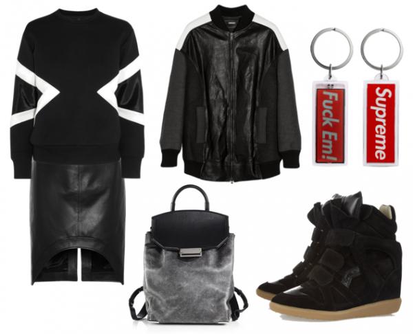 Sweatshirt, Neil Barrett. Etek, Givenchy. Bomber ceket, DKNY. Anahtarlık, Supreme. Sneaker, Isabel Marant. Sırt Çantası, Alexander Wang.